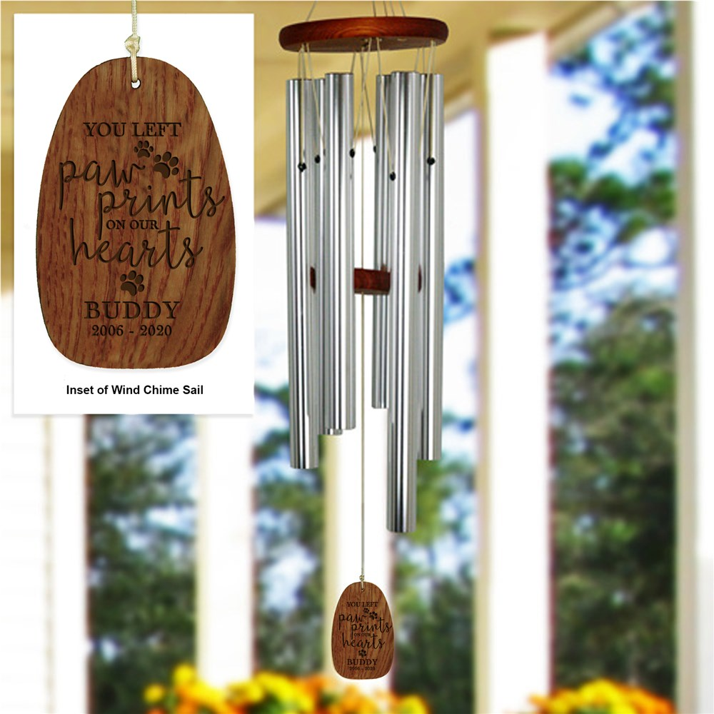 Engraved Wind Chime | Paw Prints On Our Hearts Wind Chime