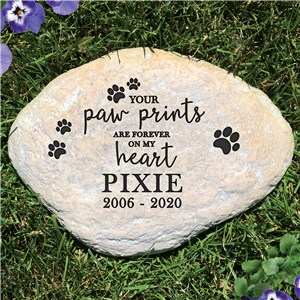 Personalized Pet Memorial Garden Stone | Paw Prints Forever Memorial Stone