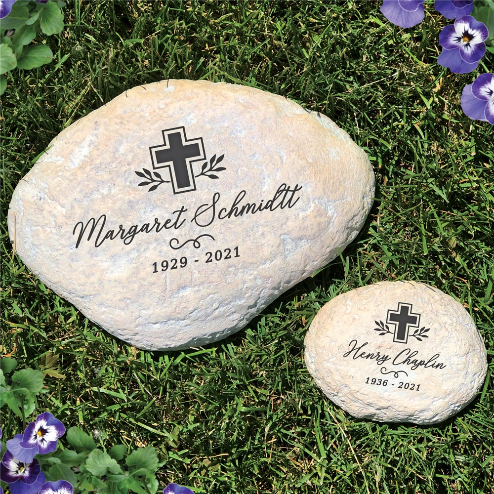 Personalized Garden Stones | Cross And Name Memorial Stone