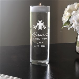 Personalized Memorial Vase | Engraved Cross Glass Floating Candle
