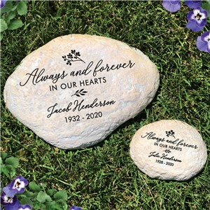 Engraved Always And Forever In Our Hearts Memorial Garden Stone L1492714X