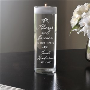 Personalized Glass Candle Memorial | Always And Forever Memorial Candle