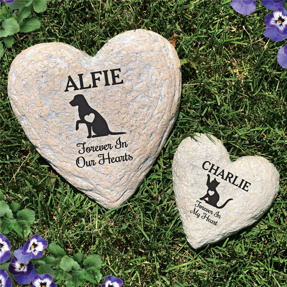 Personalized Heart Garden Stones | Pet Heart Memorial Gift