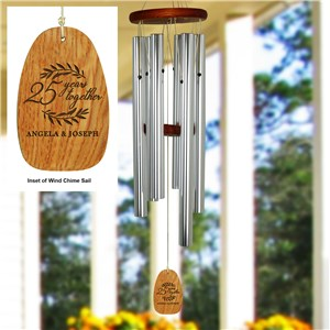 Engraved Years Together Modern Wreath Wind Chime L14995140