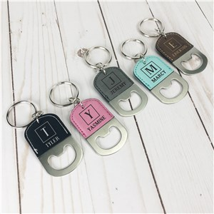 Engraved Bottle Opener Keychain | Personalized Name Faux Leather Keychains