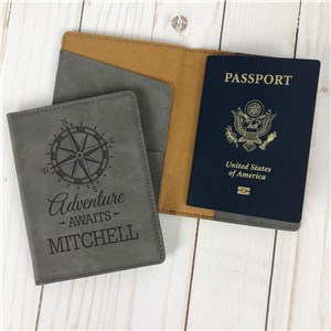 Faux Leather Passport Holder | Compass Adventure Personalized Passport Holder