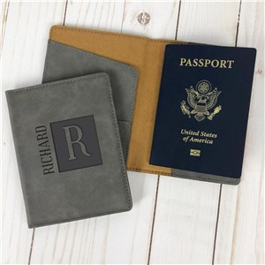 Personalized Square Name And Initial Passport Holder L15217294X