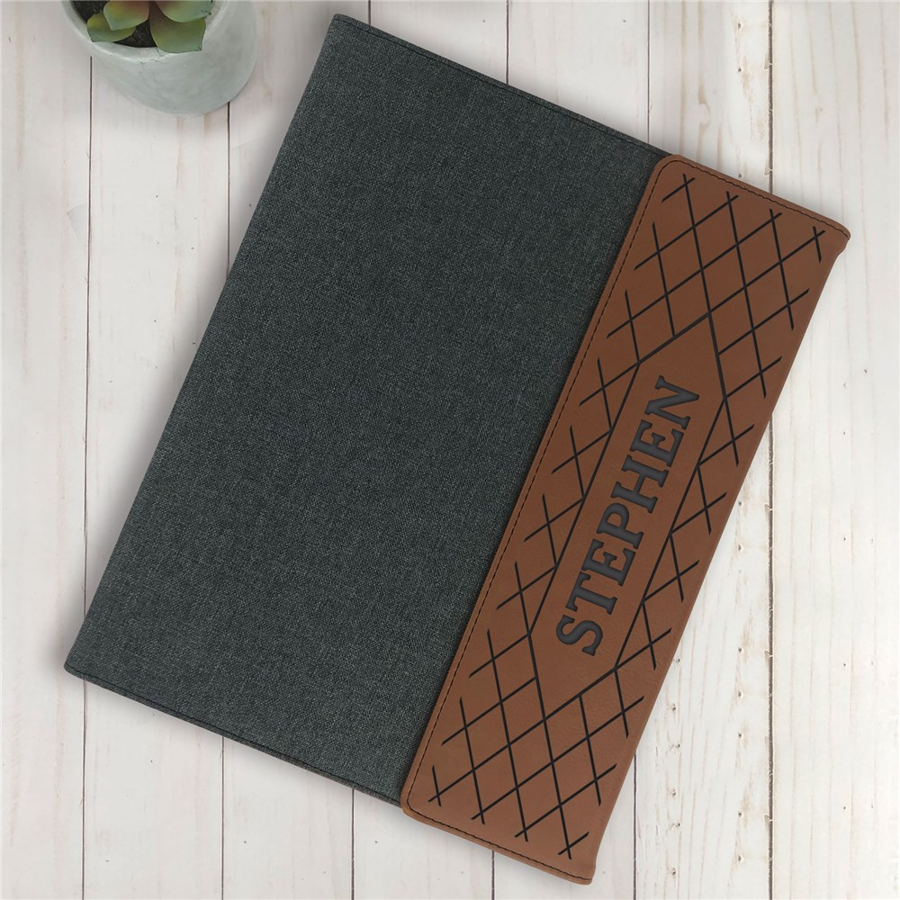 Personalized Padfolio | Diamond Pattern Paper Portfolio