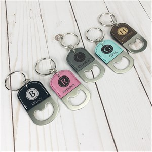 Engraved Bottle Opener Keychain | Faux Leather Keychain
