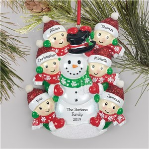 Personalized Family Building Snowman Ornament L15298282X