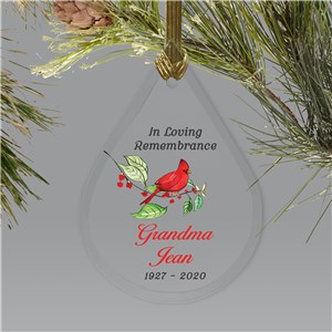 Personalized In Loving Remembrance Cardinal Tear Drop Ornament L15369111