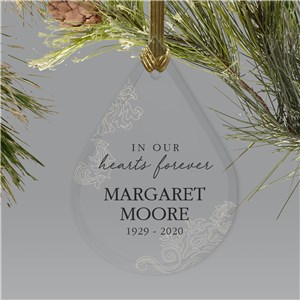 Memorial Glass Ornament | In Our Hearts Remembrance Ornament