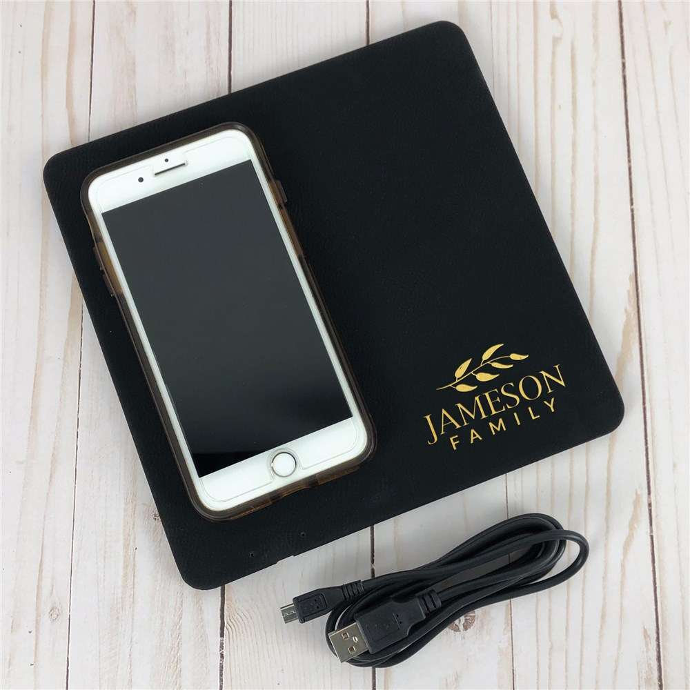 Engraved Family Name Charging Mat | Personalized Phone Charger