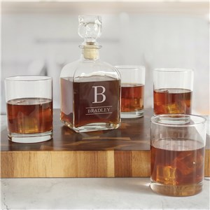 Personalized Decanter Set | Engraved Family Name Bar Set