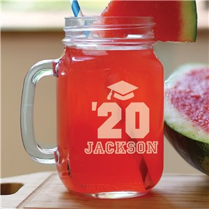 Engraved Mason Jar with Graduation Cap