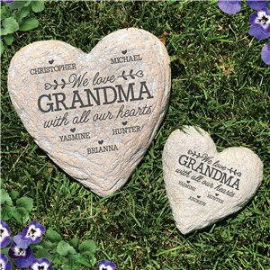 With All Our Hearts Engraved Heart Garden Stone L1616191X