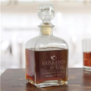 Engraved Marriage And Hearts Decanter