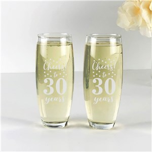 Engraved Cheers To Stemless Flute Set