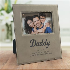 Engraved Established Happy Father's Day Leather Frame