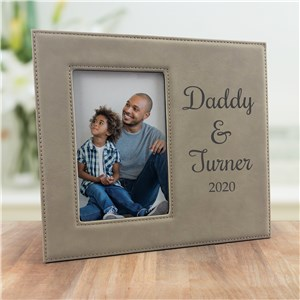 Engraved Daddy and Me Leather Frame
