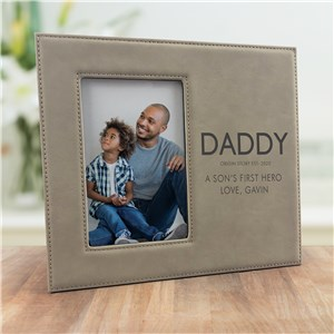 Engraved Dad's Origin Story Leather Frame