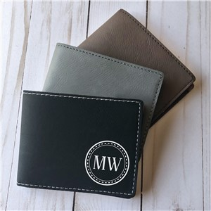Engraved Two Initial Circle Leatherette Wallet