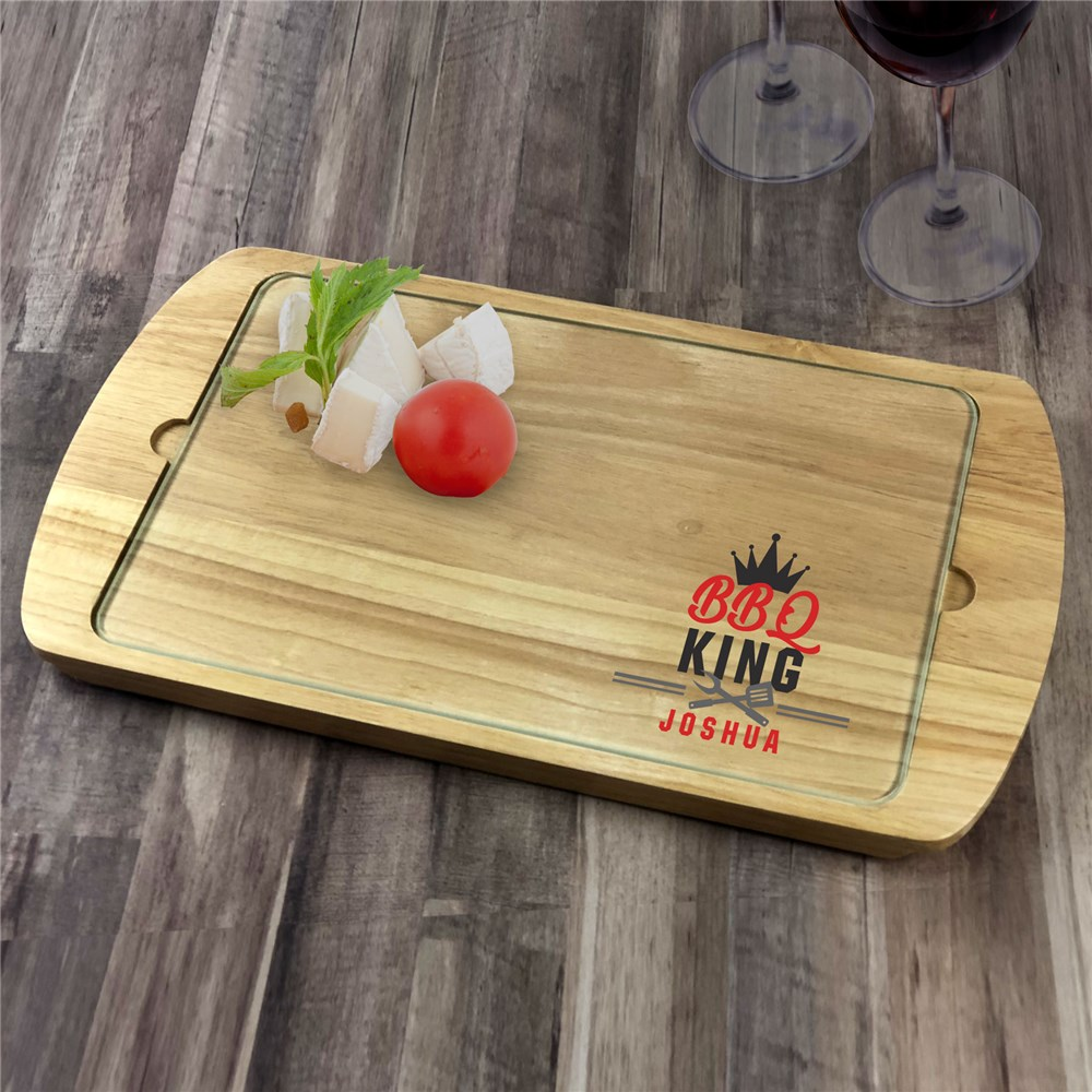 Personalized BBQ King Serving Tray