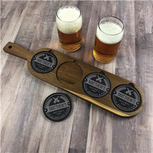 Engraved Circle Emblem with Crossed Bottles Flight Board