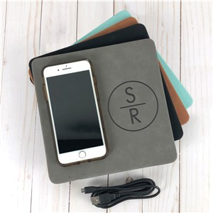 Engraved Circle with Initials Wireless Phone Charging Mat