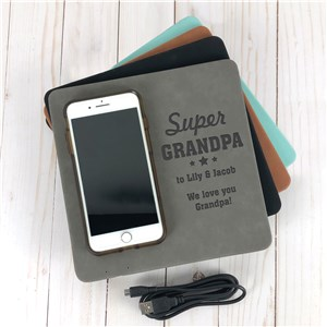 Engraved Super Dad Wireless Phone Charging Mat