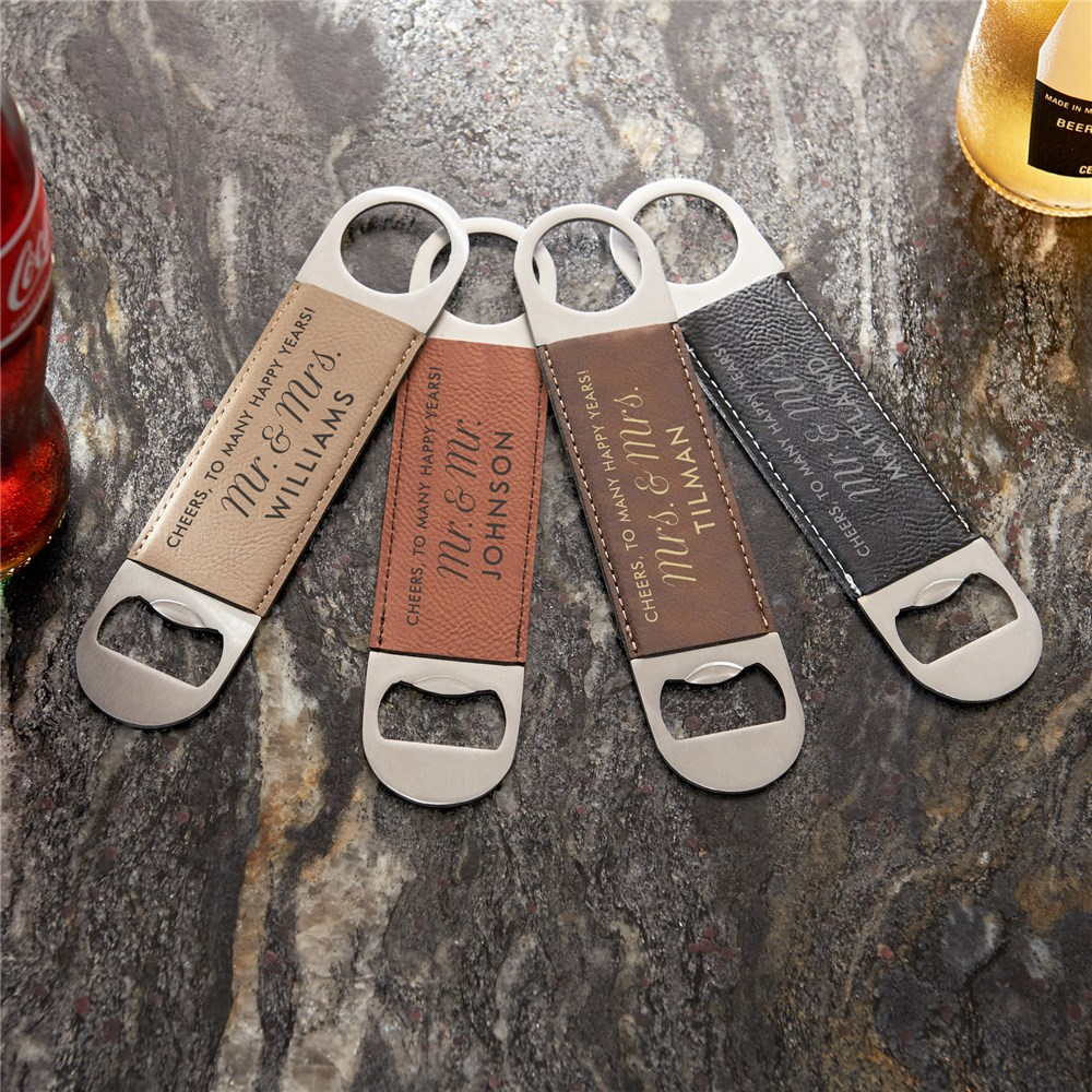 Personalized Newlyweds Script Leather Bottle Opener