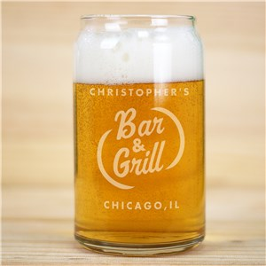 Engraved Bar and Grill Beer Can Glass