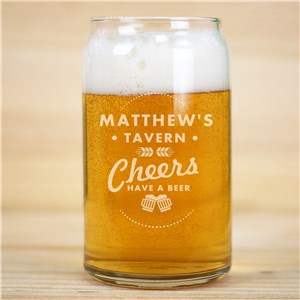 Engraved Cheers Have a Beer Beer Can Glass