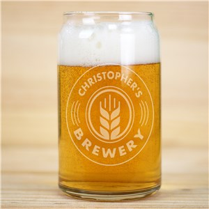 Engraved Brewery Beer Can Glass
