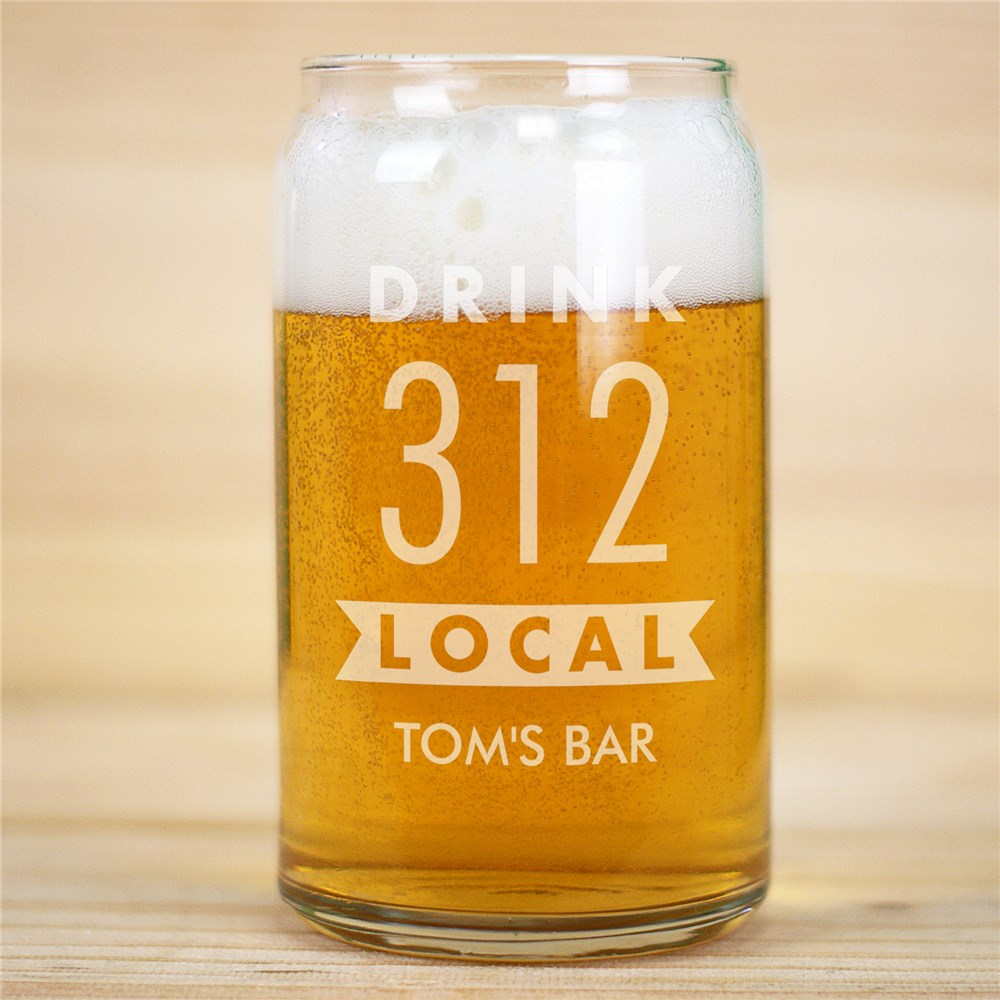 Engraved Banner Drink Local Beer Can Glass