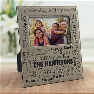 Personalized Family Word Art Leather Frame