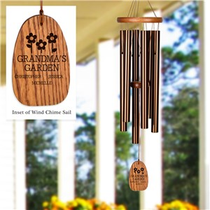 Engraved Grandma's Garden with Flowers Wind Chime