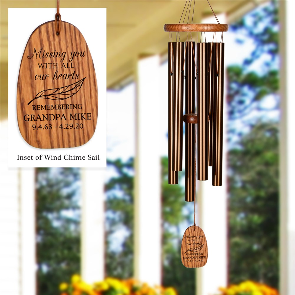 Engraved Missing You Feather Wind Chime