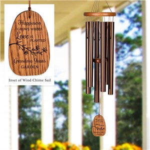 Engraved Happiness Grows Wind Chime
