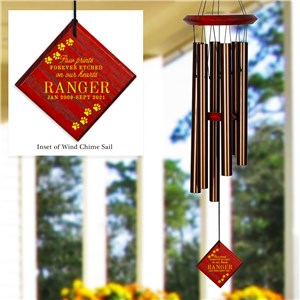 Engraved Memorial Paw Prints Diamond Wind Chime