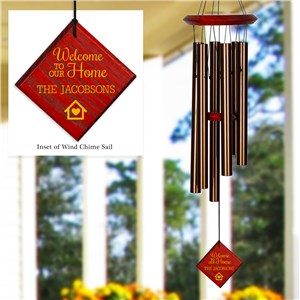 Engraved Welcome To Our Home Diamond Wind Chime
