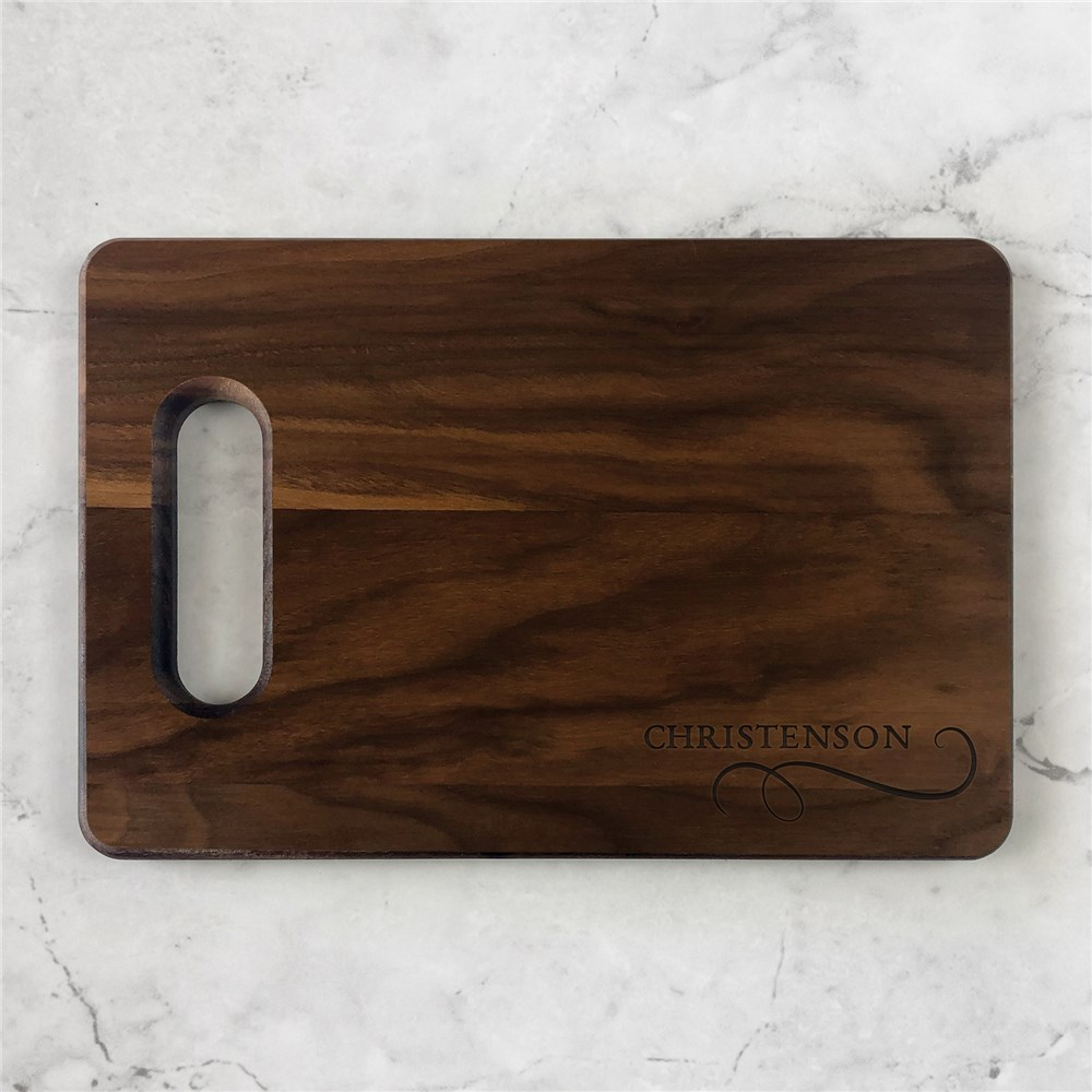 Engraved Family Name Serif Cutting Board