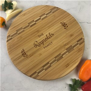 Engraved Family Name with Branches Round Cutting Board