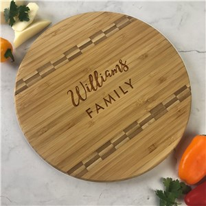 Engraved Family Name Script and Sans Serif Round Cutting Board
