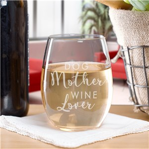 Engraved Pet Mother Stemless Wine Glass