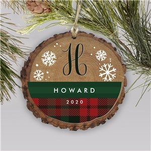 Personalized Plaid Snowflakes Wood Ornament