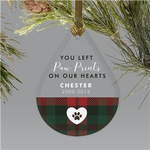 Personalized Plaid Pawprints On Our Hearts Tear Drop Ornament