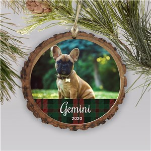 Personalized Plaid Pet Photo Wood Ornament