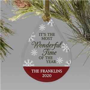 Personalized Most Wonderful Time Tear Drop Glass Ornament