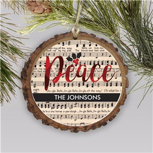 Personalized Peace Joy Love Music Wood Ornament